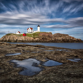 The Nubble by Robert Fawcett - Landscapes Travel ( clouds, lighthouse, long exposure, places, travel, landscape )