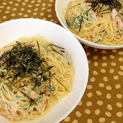 Cold Japanese-Style Spaghetti with Chicken Fillet, Umeboshi & Shiso Leaves