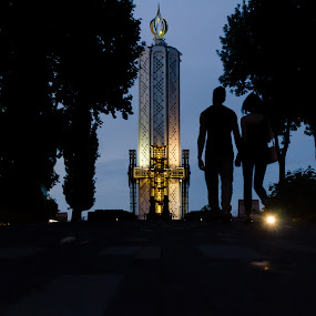 Silhouettes #1  by Andrey Dayen - City,  Street & Park  City Parks ( ukraine, silhouette, kiev, night, monument, part, city,  )