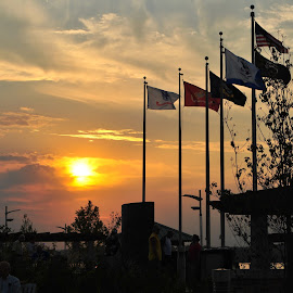 Sunset Flags by Larry Bidwell - City,  Street & Park  City Parks