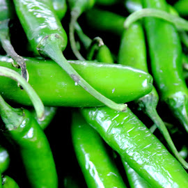 Green Chili Peppers by Noel Hankamer - Food & Drink Fruits & Vegetables ( peppers, market, green, vegetables, hot, chili )