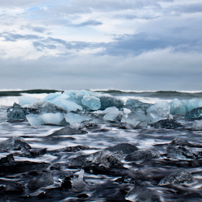 Icelandic Black Icy Beach by Vala Valgeirsdóttir-Vincent - Landscapes Beaches ( water, glacier, iceland, waterscape, blue, ice, black beach, sea, ocean, beach, landscape, black,  )