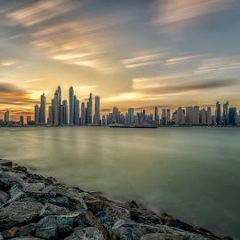 dubai marina again & again by Wissam Chehade - City,  Street & Park  Skylines ( clouds, cityscapes, torch, sky, cayan, towers, dubai, uae, buildings, dubai marina, travel, rocks, \princess )