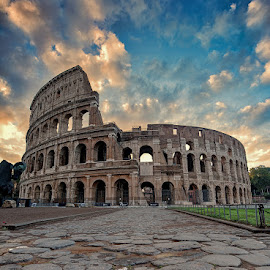 Colosseum by Eric Niko - Buildings & Architecture Statues & Monuments ( clouds, colosseum, dawn, rome, colors, monument, colosseo, italy )