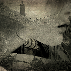 MEMORIES by Carmen Velcic - Digital Art People ( abstract, roof, face, she, town, memories, digital )