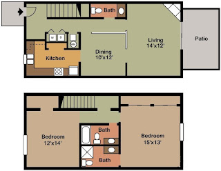 Castleton Manor Floor Plan 2 Bed 2.5 Bath 1225 SqFt