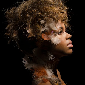 by Melissa Rolston - People Fashion ( #makeup, #feathers, #profile, #dramatic, #crative )