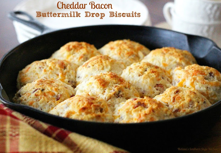 Cheddar Bacon Buttermilk Drop Biscuits Recipe | Yummly