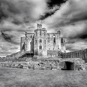 Warkworth Castle by Davey T - Black & White Buildings & Architecture ( clouds, detail, black and white, castle, landscape )