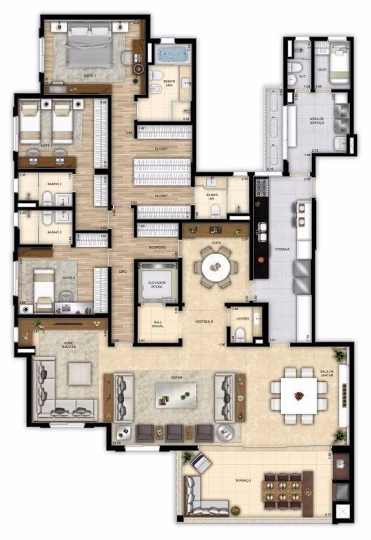 Planta Opção - 3 Suítes -        260 m²