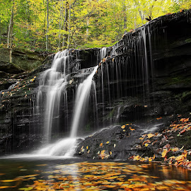 Ricketts Glen State Park by Tony Bendele - Landscapes Travel ( waterfalls, fall colors, nature, colorful, color, autumn, colors, fall, outdoors, waterfall, trees, landscape )