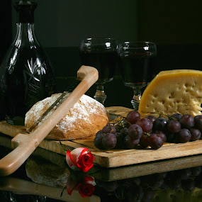 Wine, Bread and Cheese by Cristobal Garciaferro Rubio - Food & Drink Ingredients ( wine, cups, grapes, bread, chesse, bottle, knife )