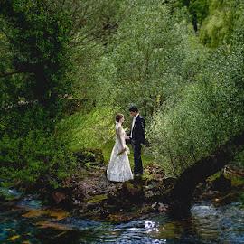 Into the Wild by Zeljko Marcina - Wedding Bride & Groom ( love, forrest, nature, wedding, croatia, split, sinj, bride, groom, river )