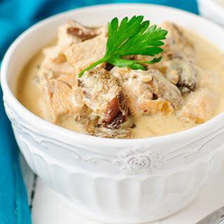 Slow Cooker Balsamic Mushroom and Chicken Stroganoff