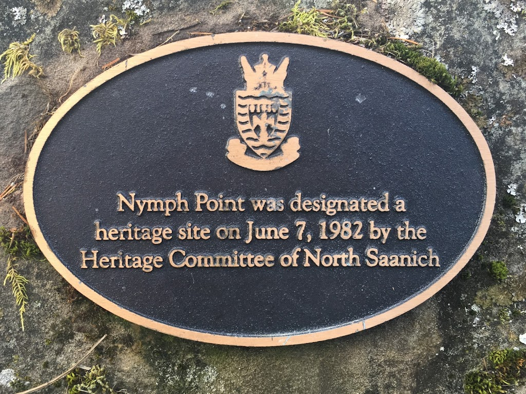 NYMPH POINT WAS DESIGNATED A HERITAGE SITE ON JUNE 7, 1982 BYT HE HERITAGE COMMITTEE OF NORTH SAANICH