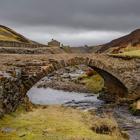 Bridge In Ruins by Darrell Evans - Buildings & Architecture Bridges & Suspended Structures ( water, countryside, dales, clouds, moorland, hills, crossing, stream, building, uk, old, grass, green, yorkshire dales, stone, landscape, sky, moors, rivulet, river )