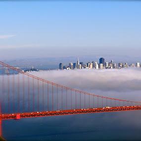 Above The Golden Gate by Jeff Steiner - Buildings & Architecture Bridges & Suspended Structures ( golden gate bridge, san francisco bay, marin headlands )