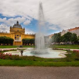 Fontana by Miro Cindrić - City,  Street & Park  City Parks ( clouds, fountan, sky, city park, flower )