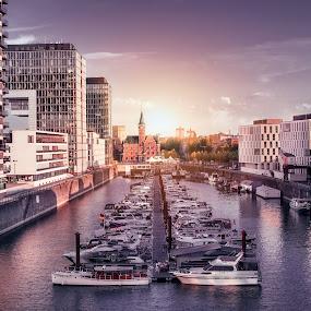 Marina  by Goran Dzh - Transportation Boats ( rheinhafen, d750, rhein, city skyline, germany, nikon, marina, koeln, cologne, sunset, köln, nikond750, river )