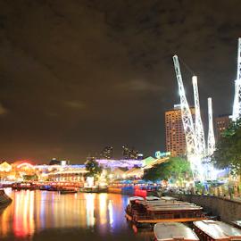 Clarke Quay in the Night by Noviani Prayetno Wijaya - City,  Street & Park  Street Scenes ( city at night, street at night, park at night, nightlife, night life, nighttime in the city )