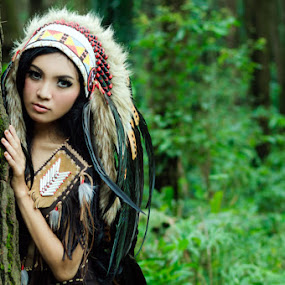 Scouting by Arindra Arindra - People Portraits of Women ( fashion, model, woman, indian, woods, portrait )