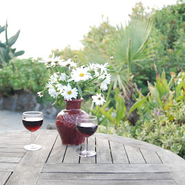 Sunset drinks by Mark Williams - Novices Only Objects & Still Life ( love, wine, frlowers, cottage, romantic, daisy )