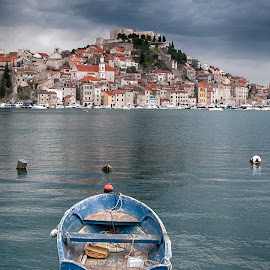 Sibenik by Dubravka Krickic - Landscapes Travel ( clouds, old, croatia, sea, seaside, town, storm, boat, sibenik, historic )