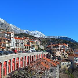 Village Araxova in Greece! by ANDREAS TOUMPOULIDIS - City,  Street & Park  Vistas ( mountain, village, snow, greece, landscape,  )