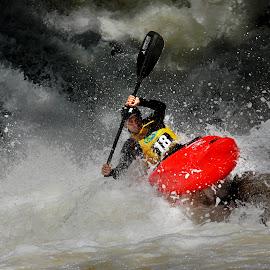 Jaguari river by Ricardo Q. T. Rodrigues - Sports & Fitness Other Sports ( red, jaguari river, waterfall, kayak, river )