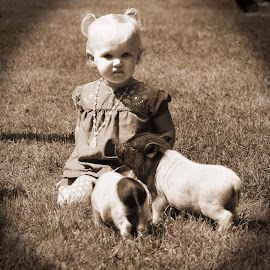 V and the piglets by Stacey Legg - Babies & Children Children Candids ( farm, babies, piglets, black and white, toddlers, pig )