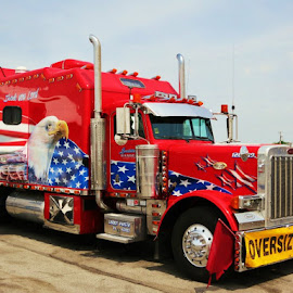 American Trucker  by Rob Hallifax - Transportation Other ( #trucking, #roadtrip, #peterbilt, #transportation, #ontheroadagain, #trucks,  )