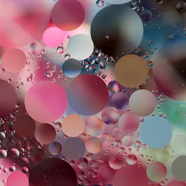 Floating by Janet Herman - Abstract Macro ( abstract, macro, colorful, floating, bubbles, reflections, colours )