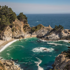 Forbidden Paradise by Givanni Mikel - Landscapes Beaches ( big sur, california, waterfall, ocean, beach )