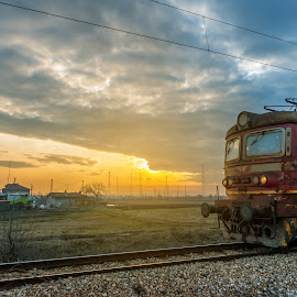 train the beautiful sunset by Grigor  Ivanov - Transportation Trains ( railroad, shipment, retro, way, switch, travel, transportation, transit, sun, modern, shipping, sky, nature, metal, transport, train, electricity, motion, evening, light, station, speed, electric, beautiful, twilight, wagon, track, scenic, morning, steel, machine, passenger, dawn, traffic, railway, industrial, blue, sunset, locomotive, background, arrival, scenery, sunrise, delivery, energy )