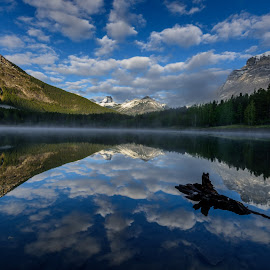 Wedge Pond by Vernie Gillespie - Landscapes Mountains & Hills ( clouds, mountains, kananaskis, pond, mist )