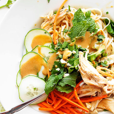 Cold Sesame Peanut Noodles with Brown Butter Chicken