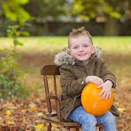 my boy by Melissa Marie Gomersall - Babies & Children Child Portraits ( orange, autumn, pumpkin, cute, party, parka )