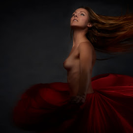 Dance in Red by Dennis Bater - Nudes & Boudoir Artistic Nude