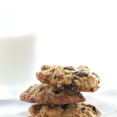 White Chocolate Oatmeal Cookies with Cherries + Pistachio