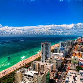 Miami Beach by Darren Tan - Landscapes Beaches ( fontainebleau, blue sky, miami beach, cloud formation, beach )