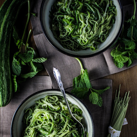 Green Tea and Zucchini Noodles with Honey-Ginger Sauce