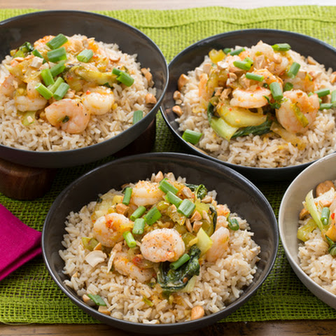Stir-Fried Orange Shrimp with Baby Bok Choy, Brown Rice & Cashews