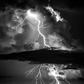 Lightning by Troy Wheatley - Black & White Landscapes ( water, lightning, black and white,  )