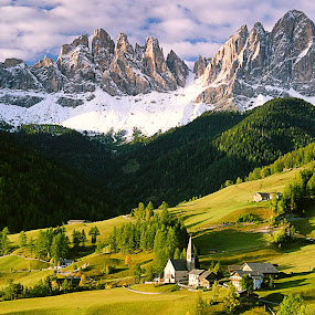 Santa Maddalena by Jerry Kambeitz - Landscapes Mountains & Hills ( mountains, green, snow, dolomites, alps,  )