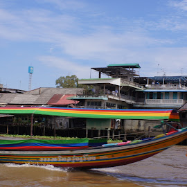 Water Taxi by Amber O'Hara - Landscapes Waterscapes ( bangkok, colors, water taxi, boat,  )