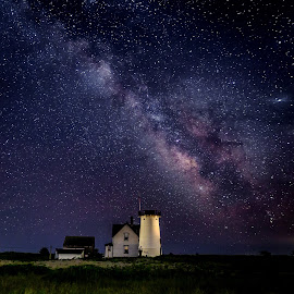 Milky Way Over Stage Harbor Light by David Long - Landscapes Starscapes ( cape cod, stage harbor, milky way )