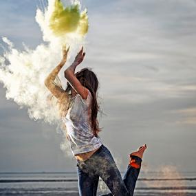 Powder Jump by Joseph Humphries - People Street & Candids ( female, woman, artistic, strobes, powder, beach, expressive, dance, jump )