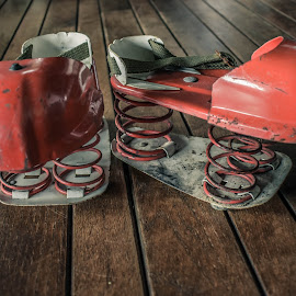 Moon Shoes Classic by Tiffany Serijna - Artistic Objects Other Objects ( shoes, old, toy, vintage, moon shoes, abandonded, play, funny, springs, retro, shoe, rustic, junk )