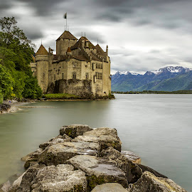 Chateau de Chillon by Nikolas Ananggadipa - Buildings & Architecture Public & Historical ( canon, smooth, switzerland, cloudy, grey, long exposure, lake, castle, stones )