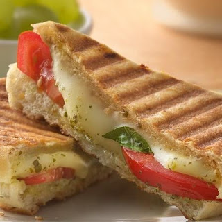 Pesto, Mozzarella and Tomato Panini